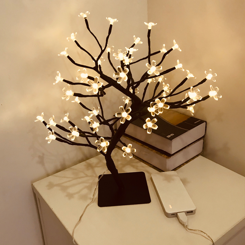 Led Bonsai Tree Lights Cherry Blossom Usb Powered Decorative Crystal Flower Night Light Desk Tablet Decoration Led Table Lamps Aliexpress