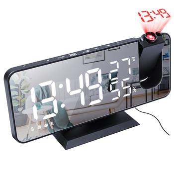 Budzik z projektorem zegar budzik Radio FM z ekran lustrzany do sypialni USB Wake Up czas żarówka jak funkcją drzemki tanie i dobre opinie CN (pochodzenie) SQUARE DIGITAL Zegarki z alarmem Cyfrowy Z tworzywa sztucznego Nowoczesne The product size is 185*45*91mm