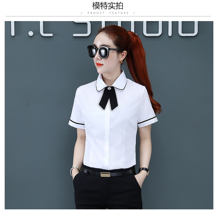 Корейская мода шифоновые женские блузки с коротким рукавом офисные