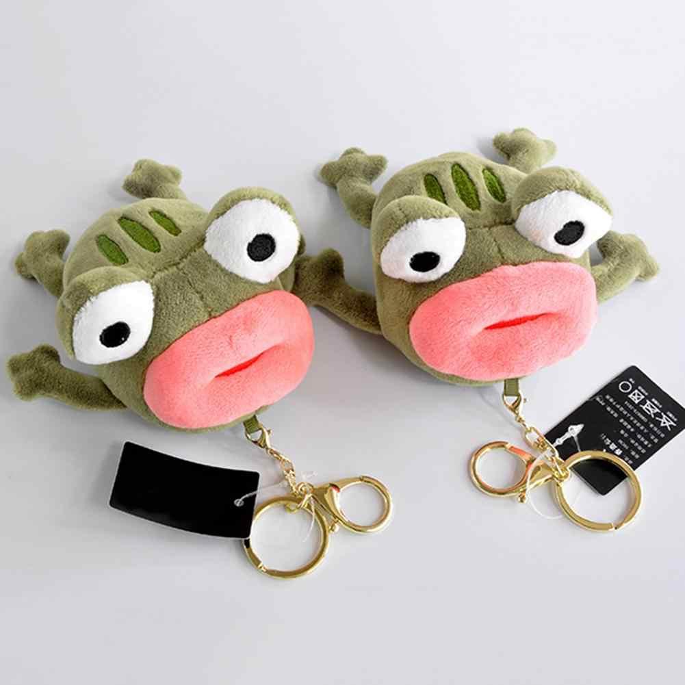 Забавная плюшевая кукла лягушка с большим ртом подвесная сумка брелок колцо для