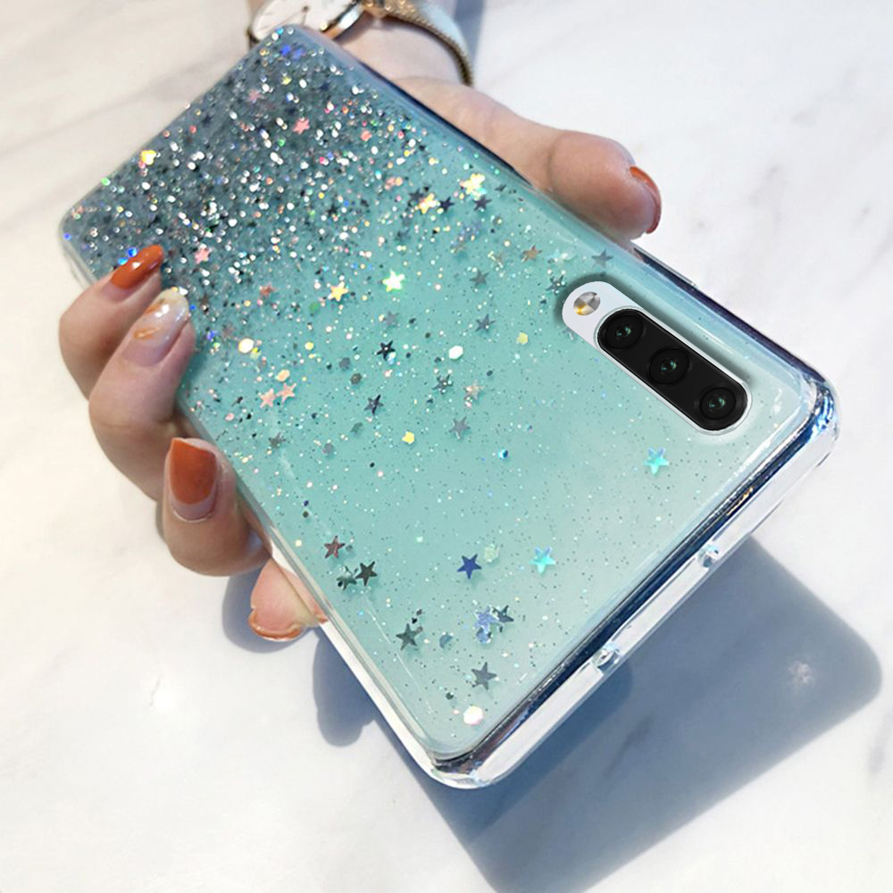 LAPOPNUT <font><b>Case</b></font> for <font><b>Samsung</b></font> <font><b>Galaxy</b></font> J6 J4 Plus A9 2018 A8 A70 A7 A6 A50 A40 A30 A20e A20 <font><b>A10</b></font> Glitter Shockproof Silicon Cover Coque image