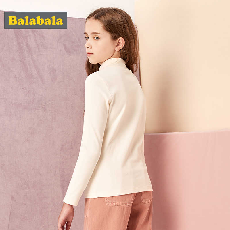 Balabala الفتيات تي شيرت طويلة الأكمام الأطفال قاع قميص 2019 جديد الخريف والشتاء الأطفال نصف عالية طوق قميص الأمراء