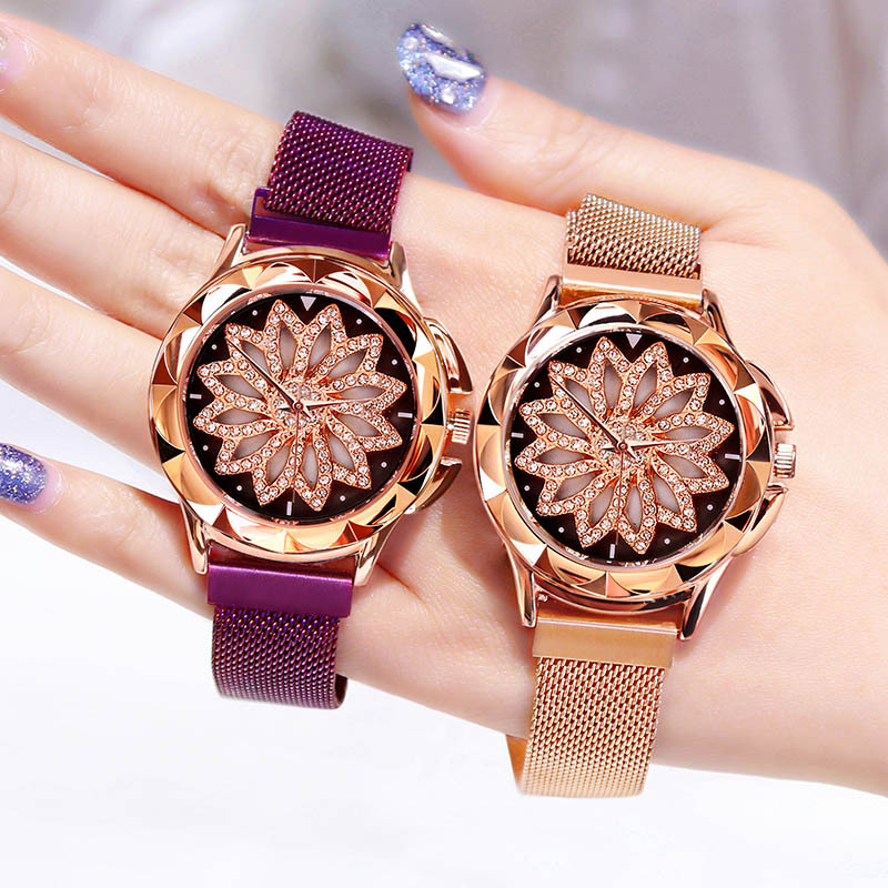 Good Luck Flower Dial Watch Women Luxury Jewelry Surface Shiny Rose Gold Watches Ladies Magnetic Clock Romantic Starry Sky
