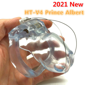2021 New Resin Male Chastity Device HT V4 Prince Albert PA Puncture Cock Cage With Penis Ring Bondage Belt Fetish Adult Sex Toys 2021 new ht v4 male chastity lock penis cage device cock cage with 4 penis ring bondage fetish adult sex toys cock rings for men