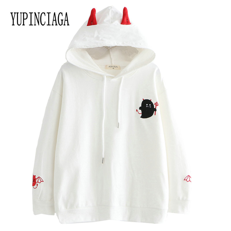 Women Harajuku Cartoon Demon Embroidery Hooded Sweatshirts With Ears On Hood 2020 Spring Long Sleeve Casual Loose Hoodies