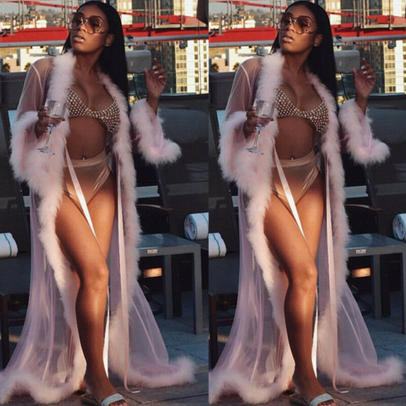 Women See-through Lace Mesh Feather Sleepwear Maxi Robes Sexy Nightwear Babydoll Sleepwear Robe Lady Loose Long Sleeve Robes