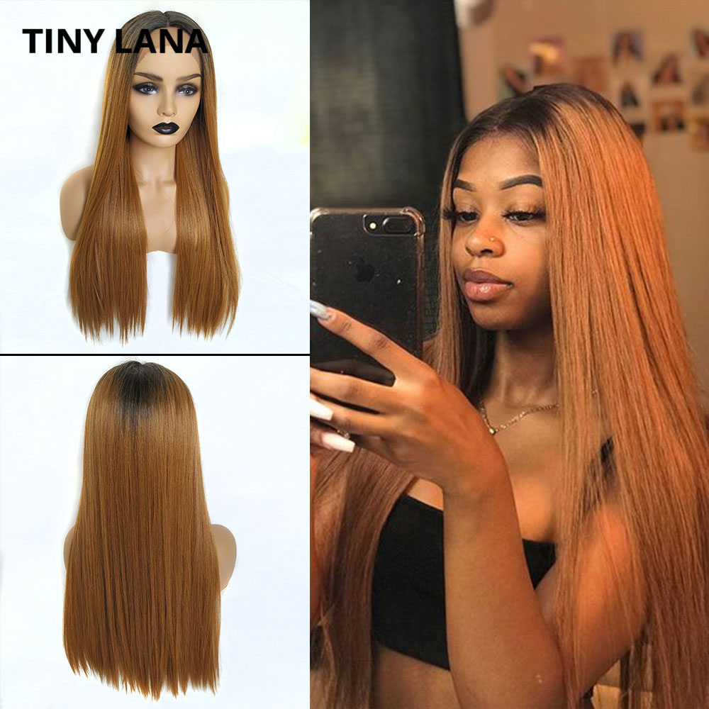TINY LANA Long Straight Lace Front Wig  Hair Wigs Ombre Colored Black Brown Synthetic Hair Wigs For Black Women