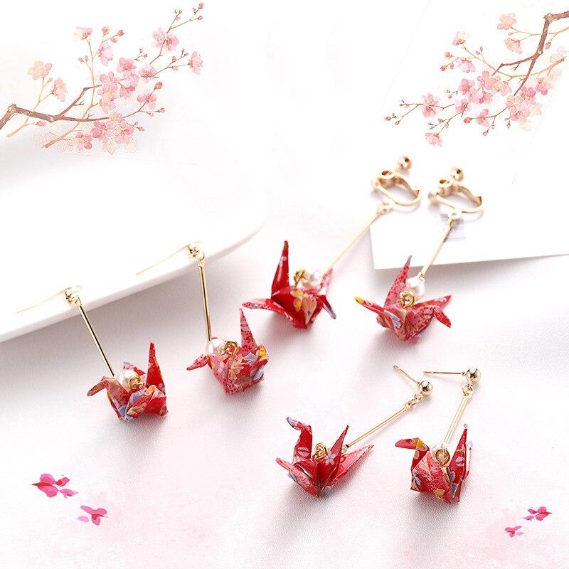 Модные висячие серьги Zephyr, романтические Подвески с бумажными Журавлями, модные ювелирные изделия для женщин, серьги в китайском стиле с зо...
