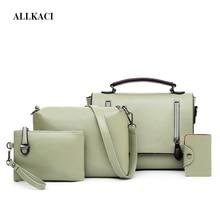 4 Pcs Luxury PU Leather Handbags Women Bags Designer Brand Famous Totes+Female Shoulder Crossbody Bags+Clutch+Purse Bag Sets 50