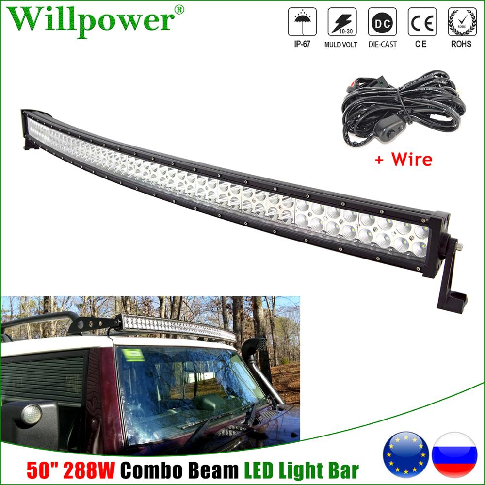 1x 50inch 288W Curved <font><b>LED</b></font> <font><b>Light</b></font> Bar For Jeep <font><b>Offroad</b></font> 4x4 Truck SUV 4WD Boat Crane Pickup <font><b>Car</b></font> Roof Driving Lamp <font><b>LED</b></font> Bar + Wire image