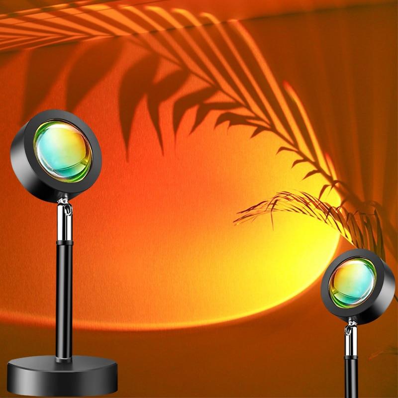 USB проекции закат лампа атмосфера Светодиодная лампа светильник Rainbow Sunset красная лампа с гало для Спальня в прямом эфире фон
