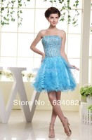 free shipping prom short dress 2014 nude crystal dress renaissance gowns vestidos formales rainbow colored dress blue prom dress