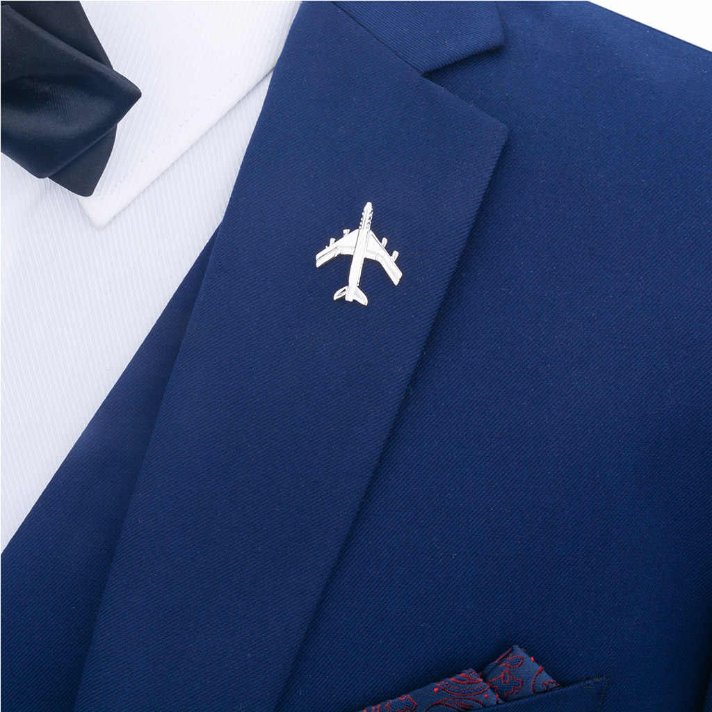 2pcs Mens Fashion Silver Airplane Button Collar Clip Brooch Pin Jewelry Gift