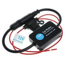Black ANT-208 Active Car Radio Antenna AM FM Amplifier Booster 12V Portable 25cm Copper + Plastic Aluminum