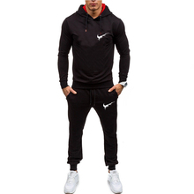 New mens sports hoodie suit solid color brand sportswear two-piece spring and autumn fitness clothes running