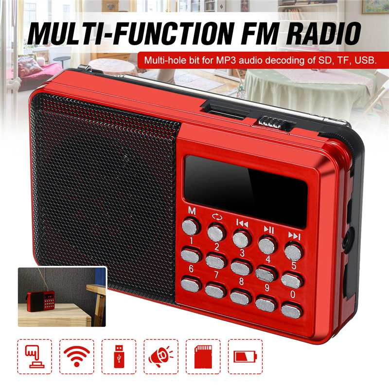 Hot Sale Portable Radio Handheld Digital FM USB TF MP3 Player Radio Receiver DC 5V 0.5A Speaker USB Charging Cable