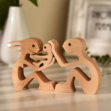 Wood Mini Statue Couple Figurines Craft Table Ornaments Puppy Family Wooden Dog Home Decoration Unique Gift Estatuilla de madera