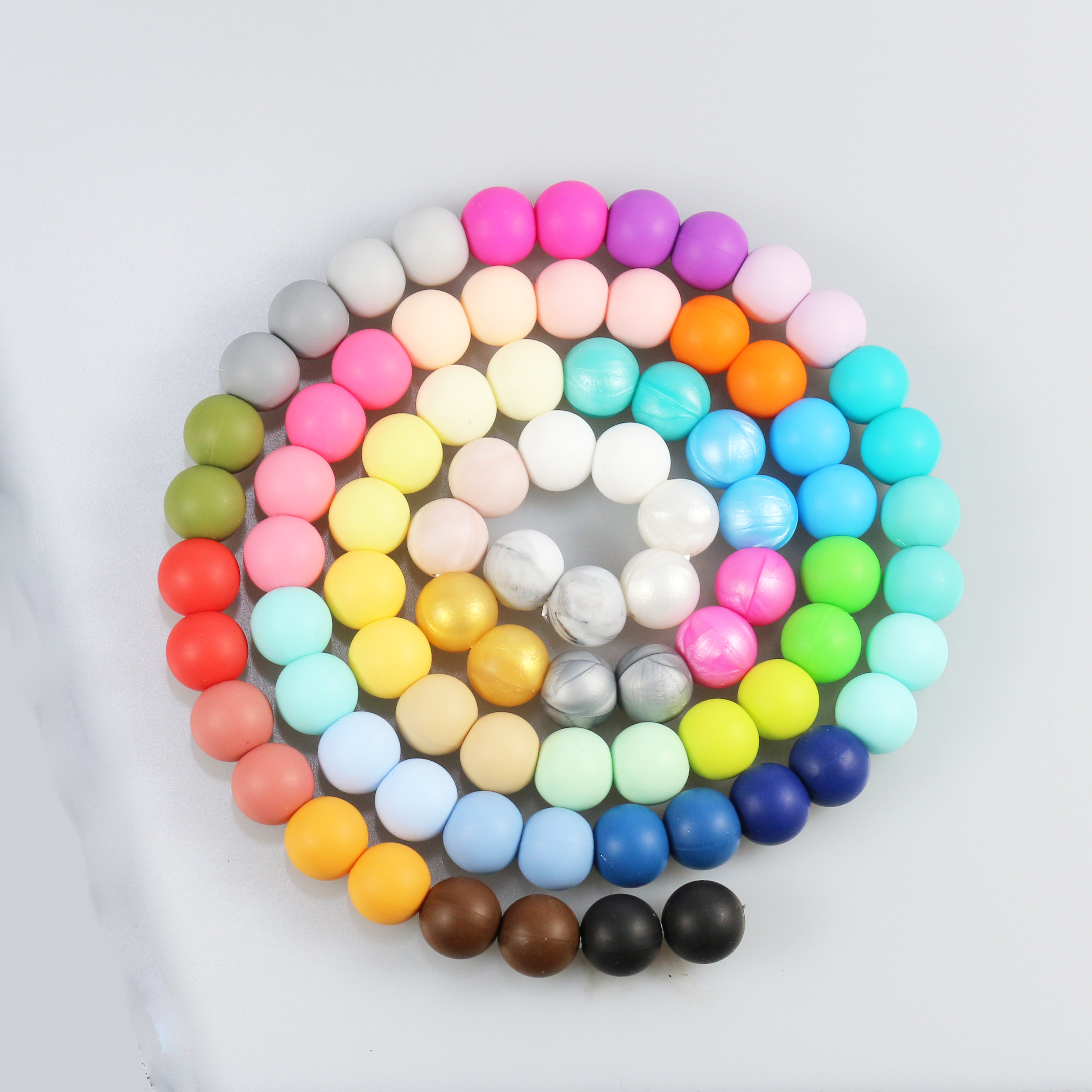 10 silicone METALLIC SILVER 12mm beads round BPA free baby teething jewellery