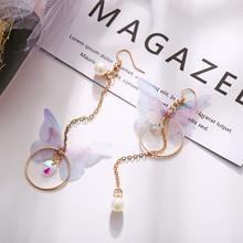 Korean style new asymmetric butterfly earrings creative retro fairy temperament long