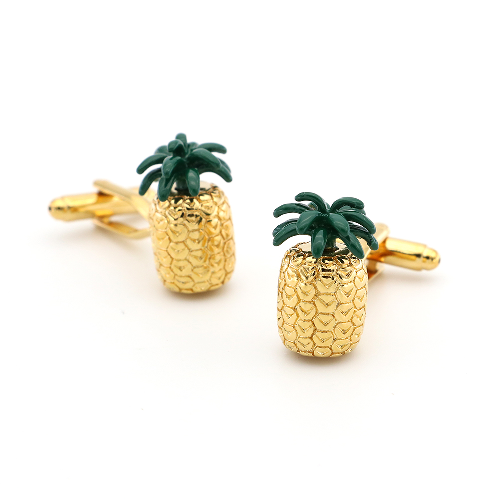 Pineapple Cuff Links For Men Fruit Design Quality Brass Material Golden Color Cufflinks Wholesale&retail