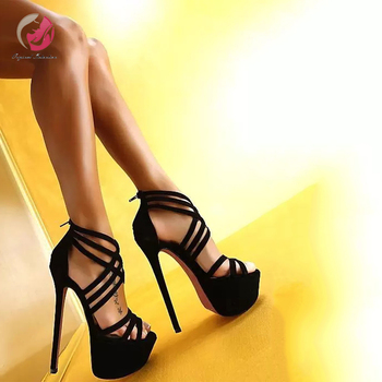 Original Intention New Stylish High Platform Sandals Woman Black Cross-tied Sandals Extreme High Heels Shoes Woman Dress Party