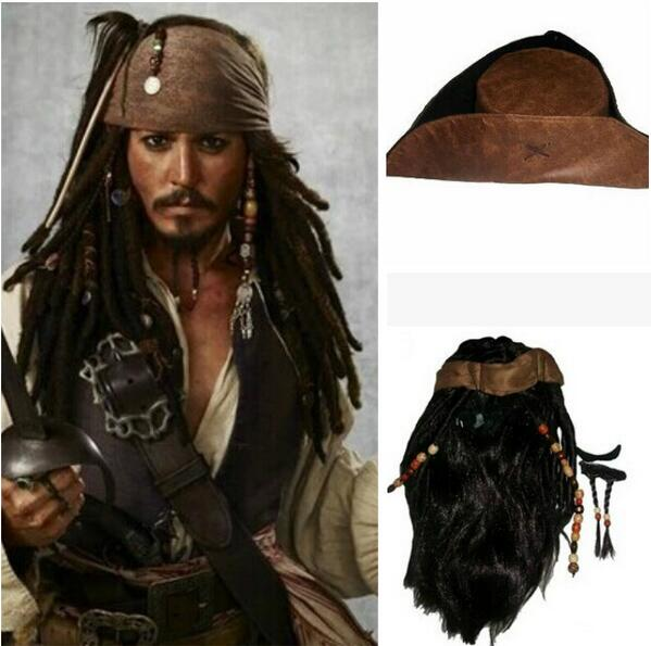 Halloween Costume For Men Adult Pirate Captain Jack Sparrow Wigs Hat Pirates Of The Caribbean Cosplay Accessories