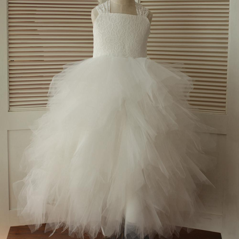 Ball Gown Lovely   Flower     Girl     Dress   2020 White Halter Cascading Ruffle Lace Tulle   Dress   with Big Bow Crossed Straps   Dress