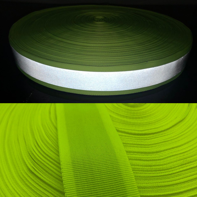 Webbing Fabric Warning With Bright Reflective Tape For Clothes Sew On