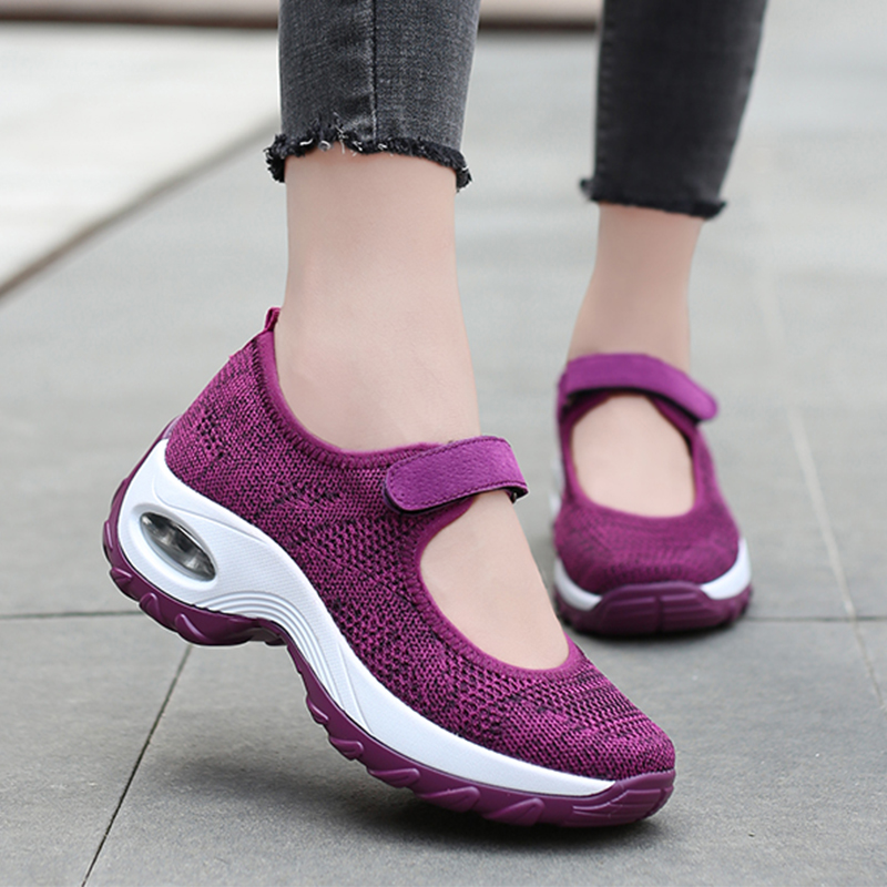 2020 New Air Cushion Flat Shoes Women Mesh Sneakers Breathable Women Shoes Increase Ladies Casual Shoes Zapatos De Mujer 35-42