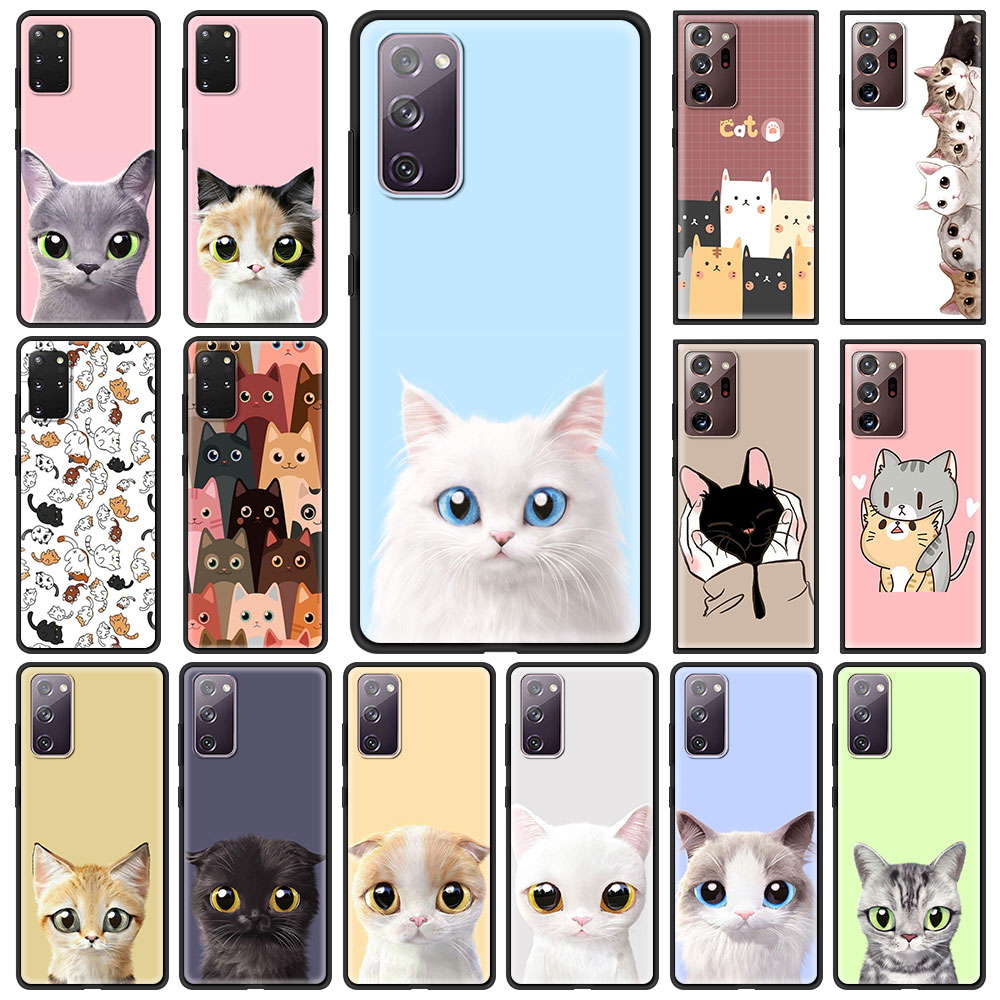 Cat Cute Kitten Phone Case For Samsung Galaxy S21 S20 FE Note 20 Ultra S10 Lite S9 Plus S8 S10e TPU Cover Black Soft Shell