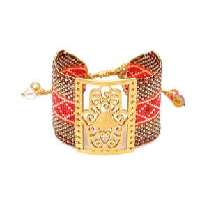 Image 1 - Go2boho MIYUKI pulsera de mal de ojo de la joyería de las mujeres Pulseras Mujer 2019 verano bohemio Hamsa mano Pulseras de brazalete hecho a mano telar tejida
