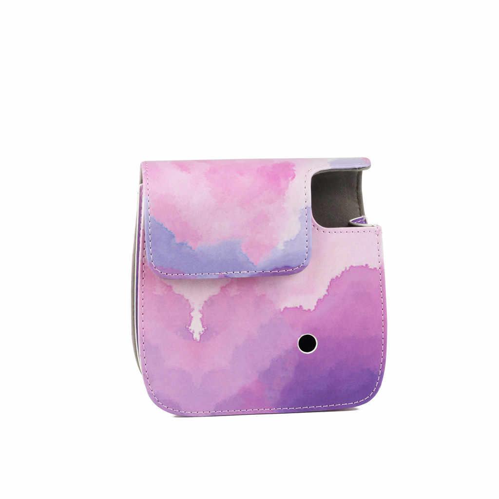 Pokrowiec ochronny torby na aparat do Fujifilm Instax Mini 9 8 8 + film natychmiastowy kamera PU skórzany pokrowiec z pasek na ramię do torby 20FEB10