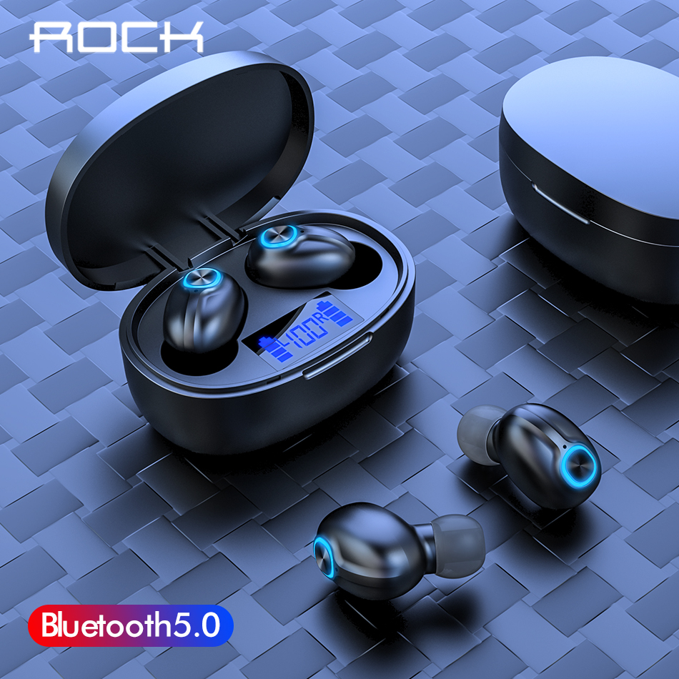 ROCK Mini TWS 5.0 Bluetooth Wireless Earphone Sports 3D Stereo Sound Earbud With Portable Mic And Charging Box