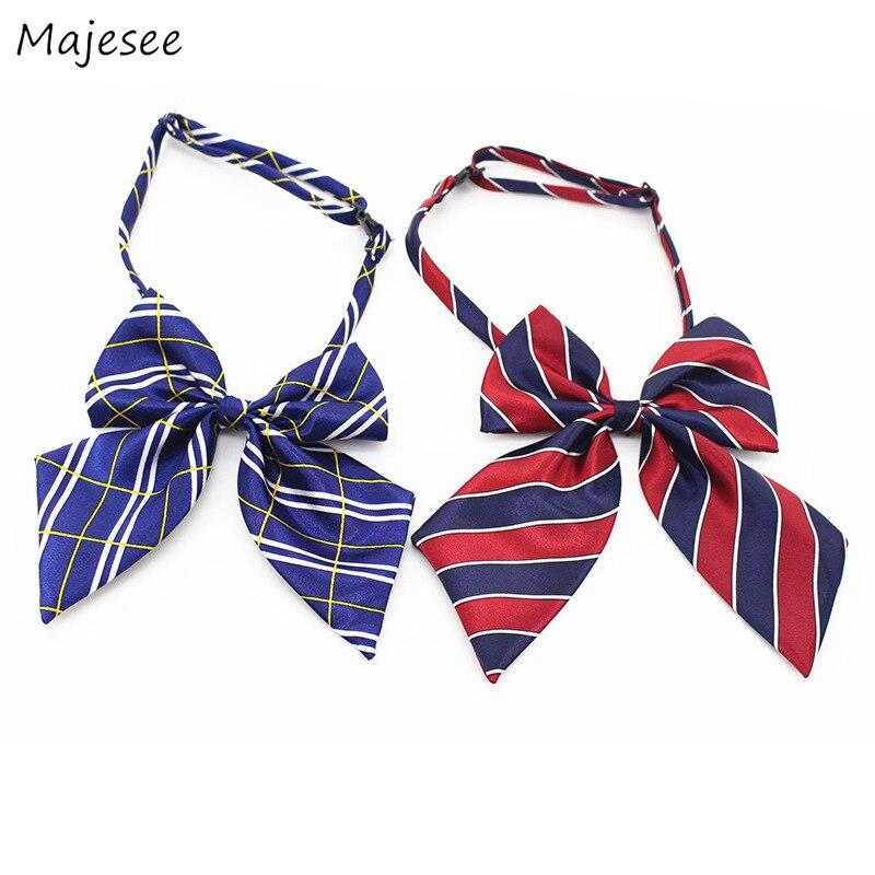 Галстуки женские кавайные Цветные Милые простые женские галстуки-бабочки элегантные универсальные клетчатые полосатые принты корейский