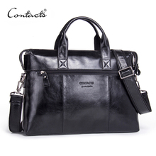CONTACT'S Genuine Leather Men Bag Male Casual 13.3 Inch Lapt