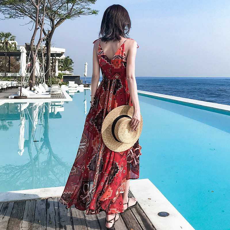 Photo Shoot Phuket Beach Skirt Women's Sanya Thailand Slimming Seaside Holiday Long Skirts Immortal Chiffon Dress