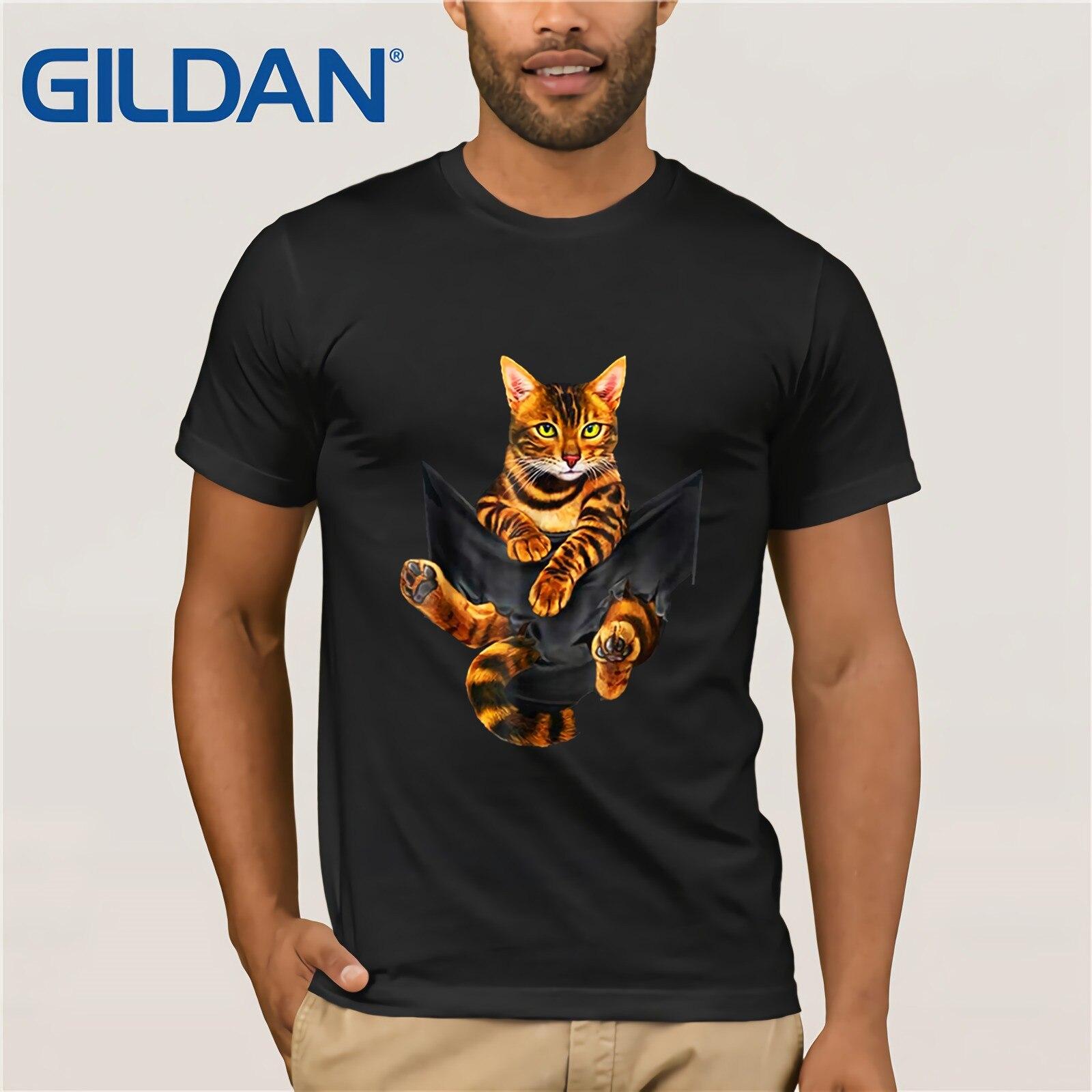 The Golden Bengal Cat 2018 S 2019 Summer Men's Short Sleeve T-Shirt O Neck Cotton Tees Tops Funny Tees Cotton Tops T Shirt