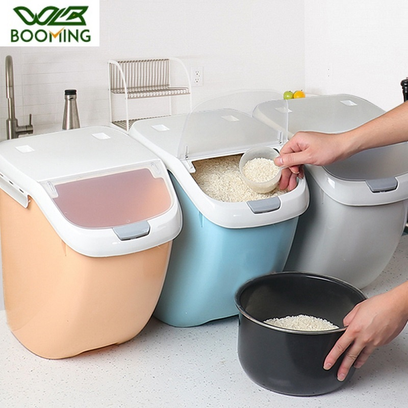 Wbbooming plástico 6/10/15 kg arroz caixa de armazenamento selado à prova de umidade grande capacidade de farinha de grão recipiente de cozinha arroz caixa de armazenamento