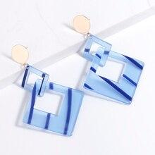 Oversize Hollow Square Geometric Earrings Stripe Acrylic Earring Big Long Drop Earrings For Women Earings Fashion Jewelry 2019 gray black long stripe cloth drop earrings
