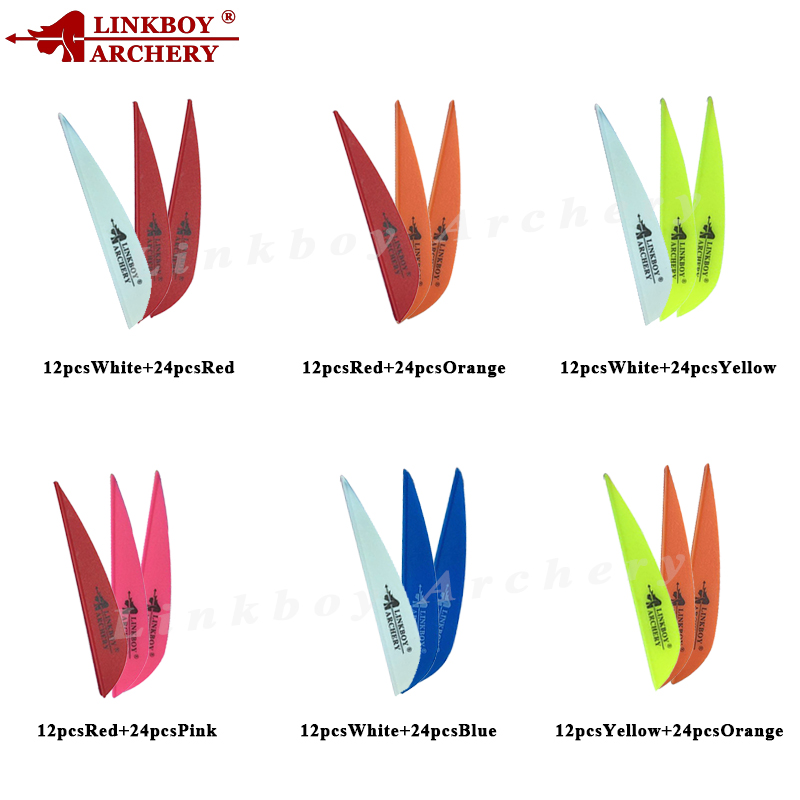 Linkboy Archery 36pcs Arrow Vanes 2.8Inch Plastic Fletching Feather For Shaft Bow Hunting And Shooting