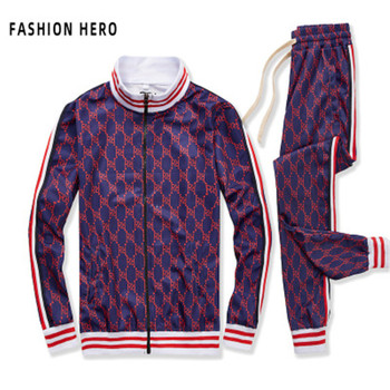 The fall and Winter 2020 edition of Europe and the United States new men's casual suit trend fashion with sports zipper suit women s suit europe and the united states tropical seaside beach holiday suit casual pajamas printing two piece set