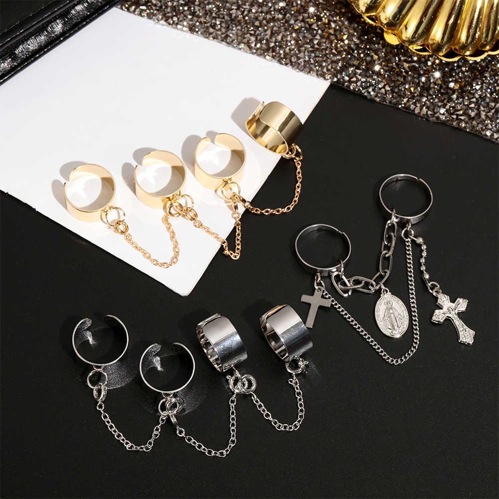Punk Kühle Hip Pop Ringe Multi-schicht Einstellbar Kette Vier Open Finger Ringe Legierung Frauen Drehen Ringe für Frauen party Geschenk