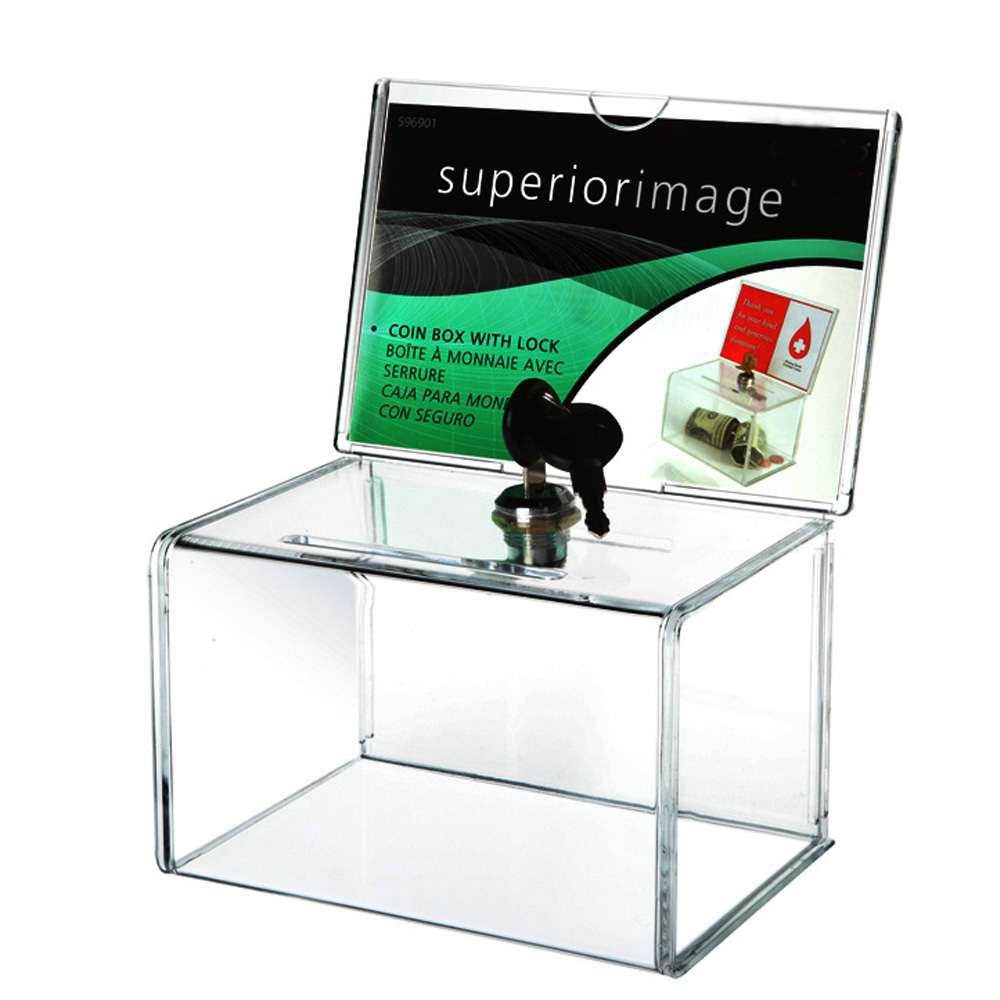 Acrylic Donation Collection Box,Perspex Charity Fundraising Box with Keylock for Church,non-profitable Group,Charity image
