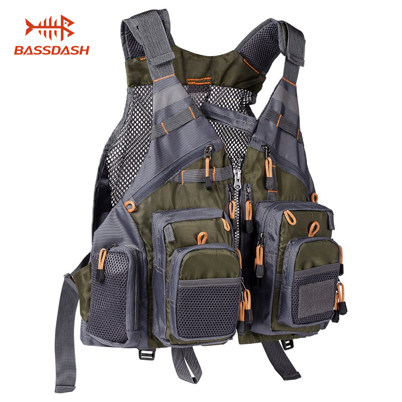 Bassdash Breathable Fishing Vest Outdoor Sports Fly Swimming Safety Adjustable Utility Vest Fishing Tackle