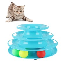 Top Quality Funny Cat Pet Toy Toys Intelligence Triple Play Disc Balls Ball Pets Green Orange Blue