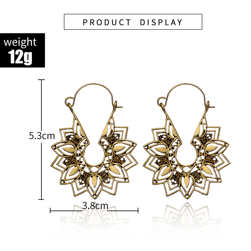 H985c3eb9dda149dc9ea7a94b970c3693c - Tibetan Silver Color Color Carved Flower Vintage Ethnic Drop Dangle Earrings Retail Jewelry Jewellery Gift For Women
