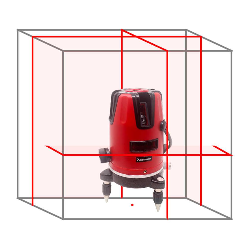 Ketotek לייזר רמת 5 קווים 6 נקודות 360 רוטרי עצמי פילוס 635nm אדום אופקי אנכי צלב קו לייזר ברמה כלים חיצוני