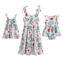 Yaz aile eşleşen giyim çiçek baskı Bohemian anne kızı Sling yelek plaj elbiseler anne ve bana eşleştirme kıyafetler