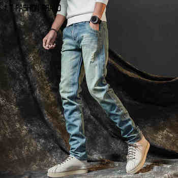 Anti-season sales trend loose thin section wild men's pants ripped jeans slim straight men's jeans  BM928