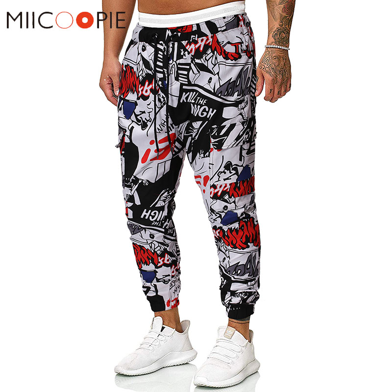 New Fashion Mens Cargo Pants Graffiti Printed Multi Pocket Joggers Men Sweatpants Casual Fitness Hip Hop Trousers Streetwear XXL